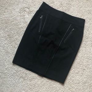 Ann Taylor leather piped skirt